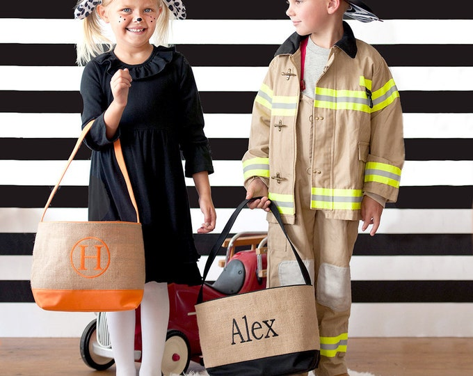 Monogrammed Burlap Bucket, Halloween Bucket, Personalized Halloween Bag, Burlap Halloween Basket
