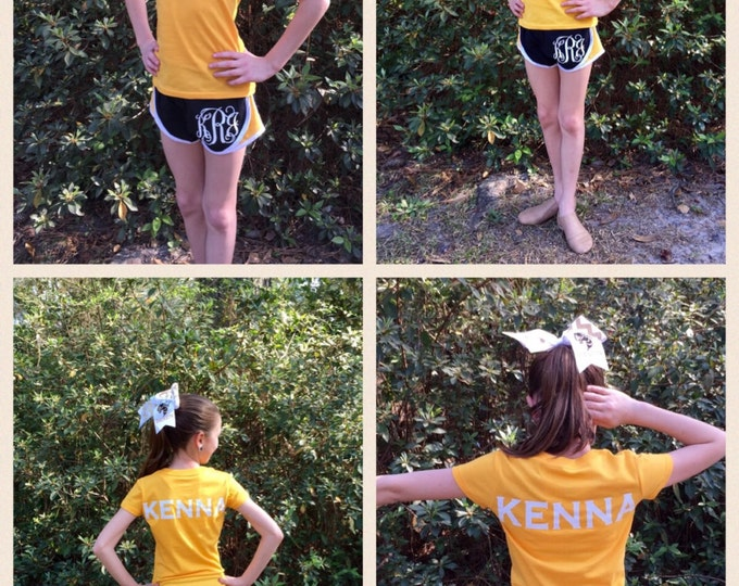 Cheer Shorts, T shirt, Cheer bow, Monogram shorts, T shirt, Monogram cheer bow, Team Pricing Available, Monogram Cheer Shorts