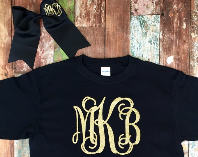 Monogram T Shirt and Monogram Cheer Bow set, Monogrammed gifts, Short Sleeve Monogram T Shirt, Cheerleaders, Teens, Girls,