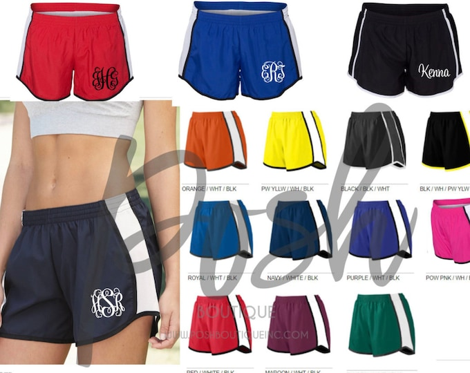 Monogrammed Running Shorts Monogram Gifts Personalized Shorts Bridesmaid gifts Cheer Shorts Personalized Birthday Cheerleader Shorts