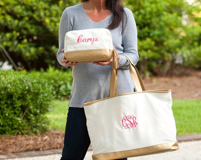 Cabana Collection Tote Bag, Make up Bag, Weekender and Cosmetic Bag Set, Monogrammed Tote Bag, Bridesmaid Gifts, Gifts for Her
