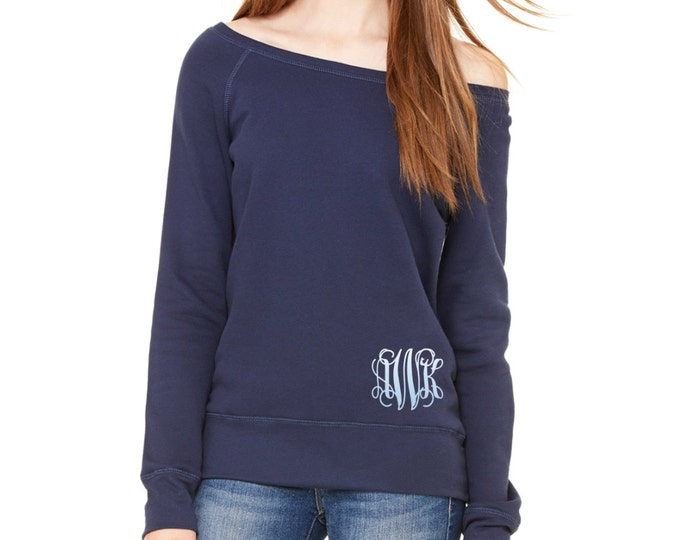 Monogrammed off the shoulder sweatshirt, Monogram Sweatshirt, Oversized Sweatshirt, Monogrammed Sweater, Pullover Sweatshirt