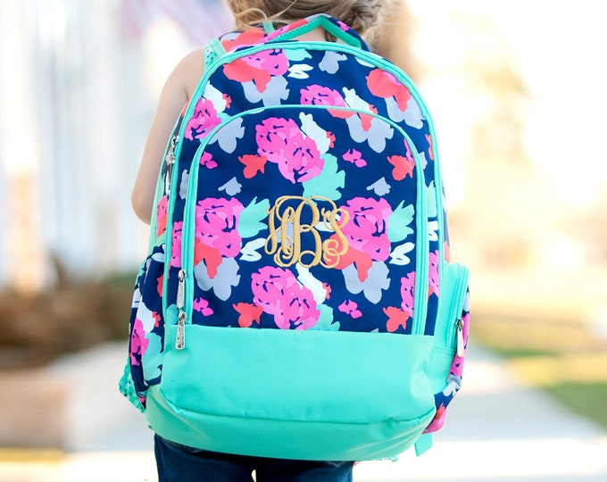 Monogrammed Backpack, Book bag, Personalized Backpack, Back to School, Preppy Backpack, School Supplies, Girls and Boys Backpacks
