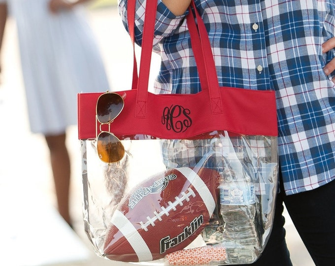 Monogrammed Clear Tote Bag, Clear Stadium Purse, Security Friendly, Personalized Clear Tote Bag, Team Colors, Concert Bag, Game Day Bag