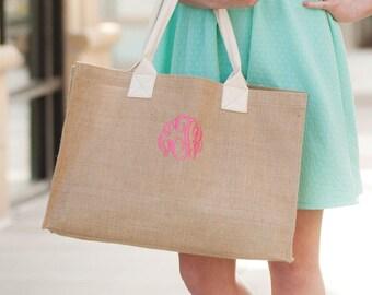 Monogrammed Tote Bag, Burlap Tote, Bride, Bridesmaid Tote, Bridesmaid Gifts, Personalized Tote Bag