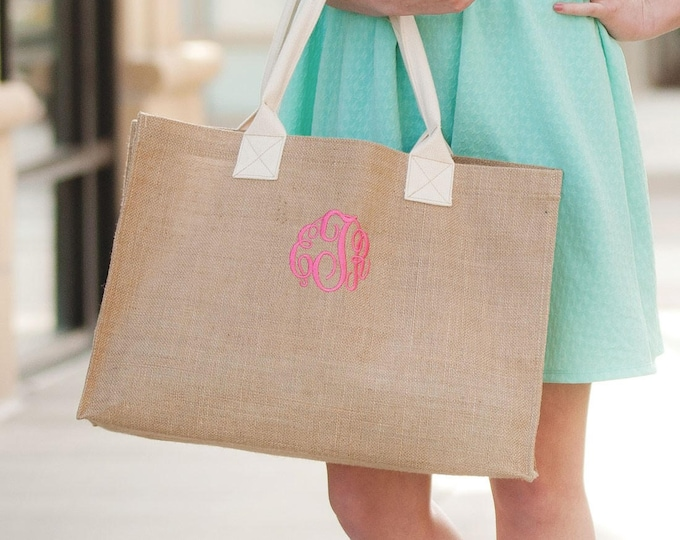 Monogram Burlap Tote Bag, Monogrammed Burlap Purse, Monogrammed Bridesmaid Gifts, Gifts under 25, Personalized Bridesmaid Gifts