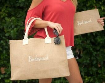 Monogrammed Burlap Clutch, Burlap Cosmetic Bag, Monogrammed Bridesmaid Gifts, Women's Makeup Bag, Bride, Bridesmaid Bag, Bridesmaid Gifts