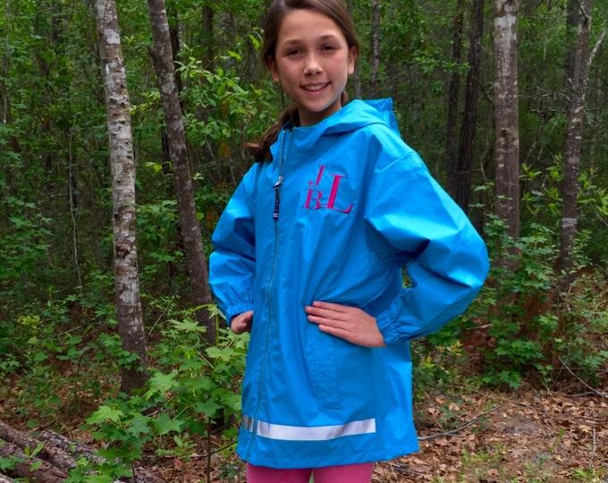 Girls Monogrammed Rain Jacket - Monogrammed gifts - Girls Monogram Rain Jacket - Monogrammed New Englander Jacket - Girls Rain Jacket