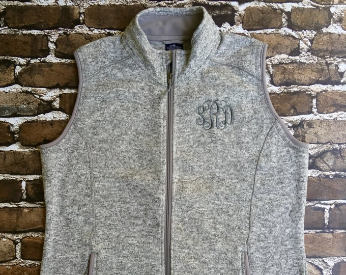 Monogrammed Vest, Women's Pacific Heathered Vest, Charles River Vest, Fleece Vest, Bridal Party Gifts, Gifts for Her, Christmas Gifts