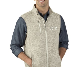 Men's Monogrammed Vest, Guy's Monogrammed Vest, Charles River Apparel Men's Pacific Heathered Vest, His and Hers, Honeymoon, Gift for him