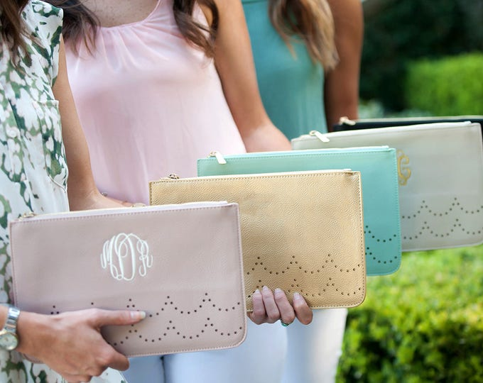 Monogrammed Ava Clutch, Monogrammed Bridesmaid Clutch, Monogrammed Gifts for Her