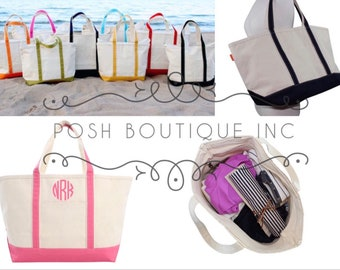 Custom Boat Tote Bag, Zip Top Boat Tote, Bridal Party Gifts, Bridesmaid gift, Corporate Gifts, Monogrammed Totes