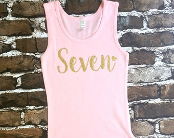 Personalized Birthday Tank Top, Birthday Girl Tank top, Birthday Tank Top, Birthday Girl Shirt, Seven Year old Birthday shirt,