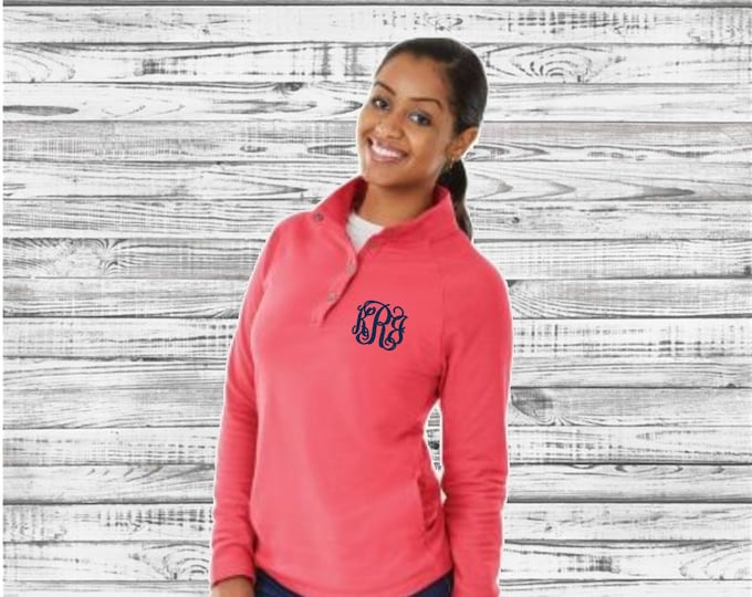Monogrammed Falmouth Quarter Zip Pullover, Charles River Quarter Zip Pullover, Monogram Pullover, Gifts for Her, Monogrammed Pullover