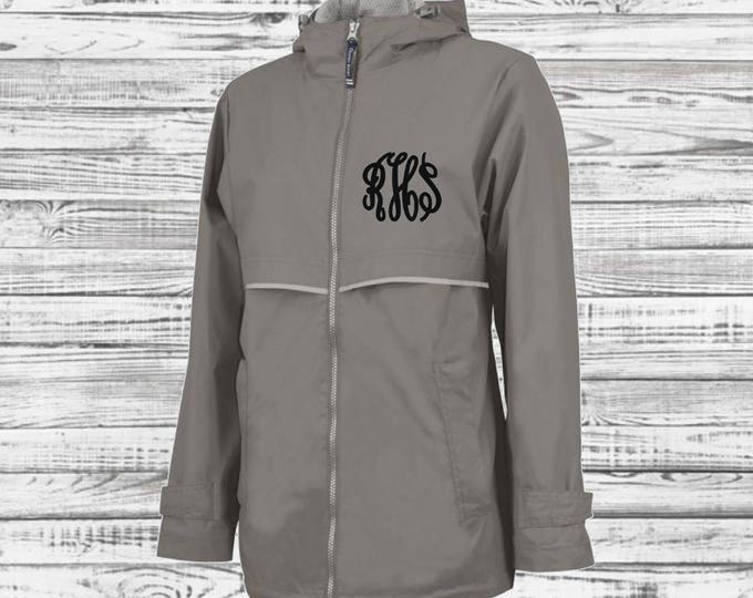 Monogram Rain Jacket - Monogrammed Rain Coat - Monogrammed Gifts - Charles River Apparel New Englander Rain Jacket - Bridesmaid Gifts