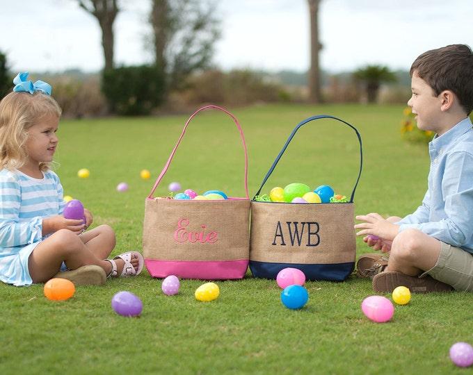 Monogrammed Easter Basket, Personalized Easter Basket, Easter Basket, Hot Pink Burlap Easter Basket