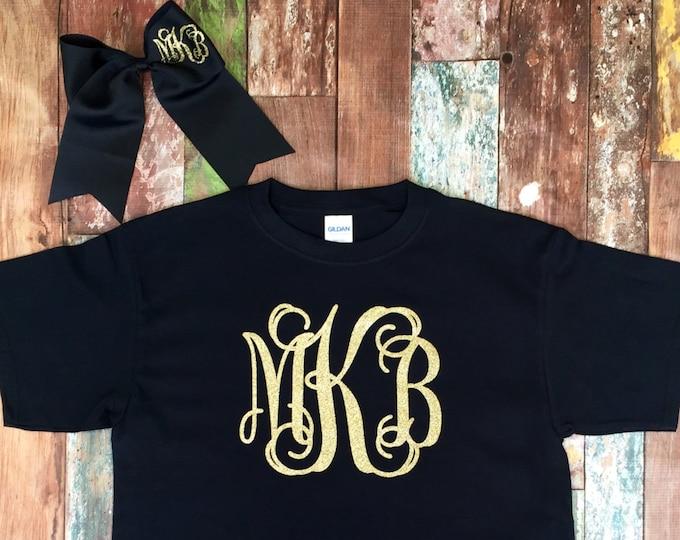 Monogram T Shirt and Monogram Cheer Bow set, Monogrammed gifts, Short Sleeve Monogram T Shirt, Cheerleaders, Teens, Girls,