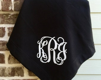 Monogram Throw Blanket, Personalized Blanket, Gifts for Her or Him under 20, Monogrammed Team Gifts