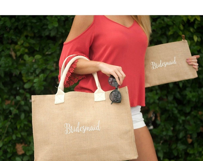 Monogrammed Burlap Clutch, Burlap Cosmetic Bag, Monogrammed Bridesmaid Gifts, Women's Makeup Bag, Back to School
