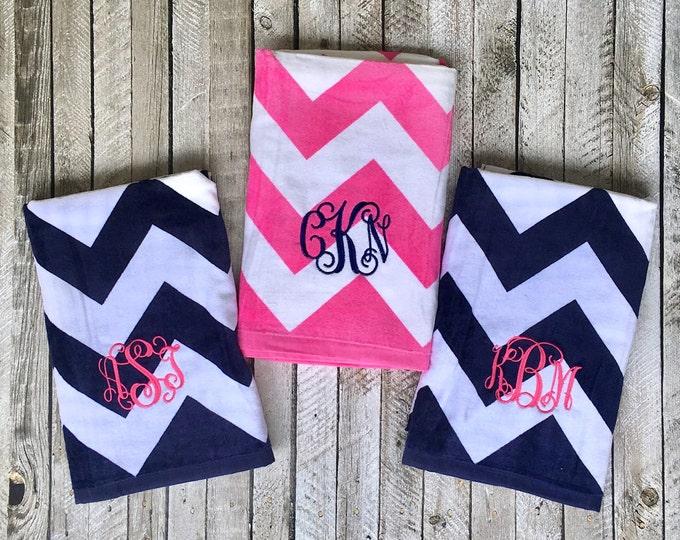 Monogram Beach Towel, Monogrammed gifts, Bridesmaid gifts, Monogram Beach Towels, Heat Transfer Vinyl or Embroidery Monogram