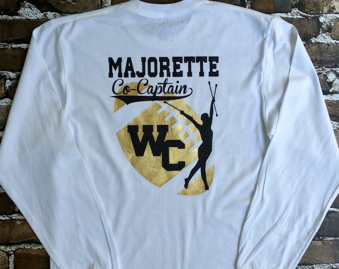 Majorette tee shirt, Football Season Shirt, Cheerleader T shirt, Game day shirt, School Spirit T shirt, Custom Tshirt, Monogrammed Gifts