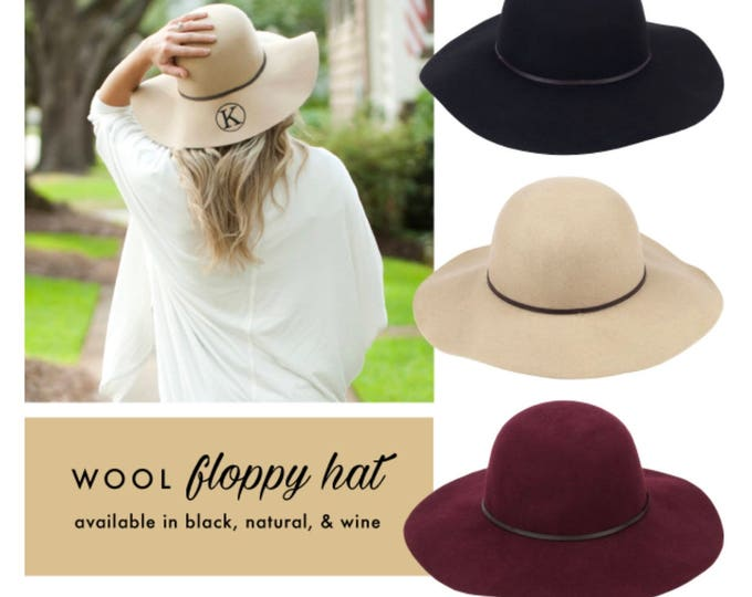 Monogrammed Wool Floppy Hat, Bridesmaod gifts for Fall, Monogrammed Gifts for Her, Monogrammed Gifts, Monogrammed Hats