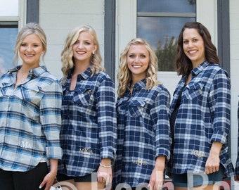 Monogram Flannel Shirts, Monogram Button Down, Monogrammed Shirt, Bridesmaid Shirts, Plaid Flannel Tunic Shirt, Plaid Bridesmaid Shirts