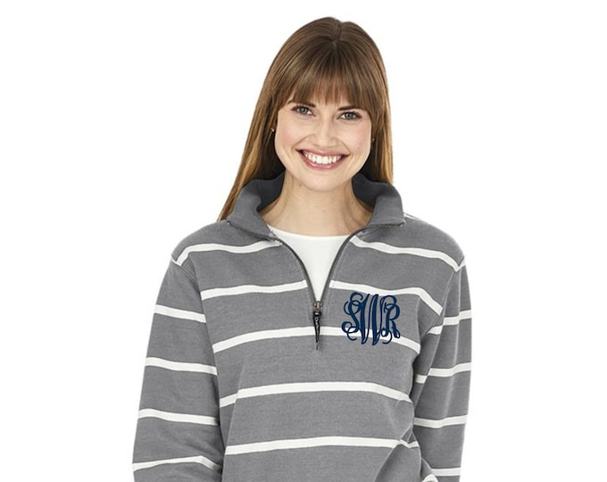 Monogram Sweatshirt - Monogrammed Quarter Zip Sweater - Monogrammed Sweatshirt  - Bridesmaid Gifts - Charles River Crosswind Sweatshirt