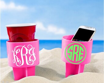 Monogram Sand Spiker, Sand Spiker, Bachelorette Trip Gifts, Bridesmaid Gifts, Girls Trip, Monogram Beach Spiker, Beach Cup Holder