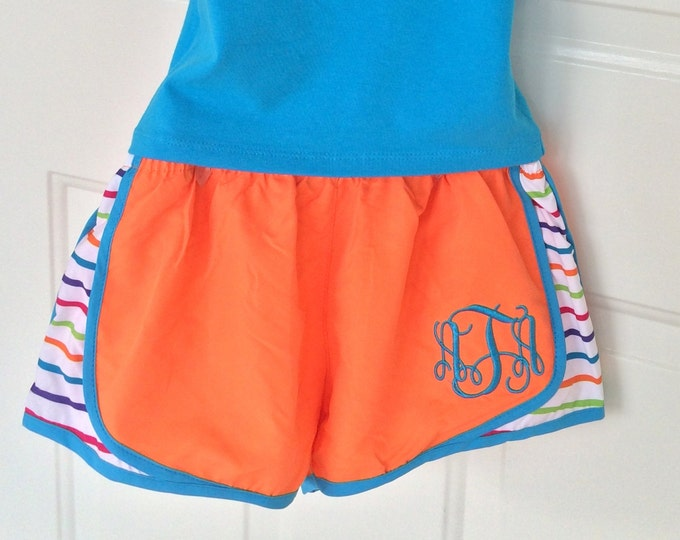 Monogram Running Shorts, Cheer Shorts, Athletic Shorts, Monogrammed Shorts, Cheer Practice Wear