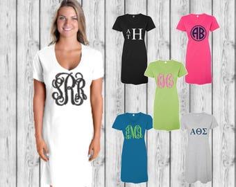 Monogrammed Swimsuit Coverup, Tee Shirt Dress, Custom Swimsuit Cover up, Bridesmaid Gifts, Honeymoon, Bachelorette, Monogram Gifts