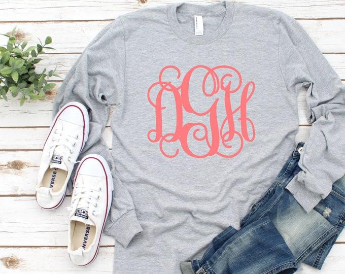 Monogrammed T shirt, Monogram Tee Shirts, Mother Daughter T shirts, Monogrammed shirts, Monogram Long Sleeve Shirts, Gifts Under 20