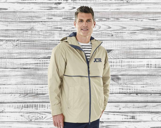 Men's Monogram Rain Jacket - Monogrammed Rain Coat - Monogrammed gifts - Groomsmen Gifts -  Men's New Englander Rain Jacket