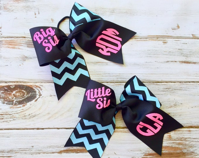 Monogram Cheer Bows, Hair Bows, Monogrammed Gifts, Big Sis Little Sis Cheer Bows, Set of Two Cheer Bows - Team Discount Cheer Bows
