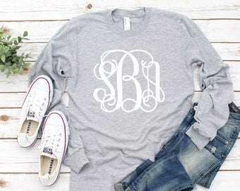 Monogram Shirt - Monogrammed Long Sleeve Shirt - Custom Tee Shirts