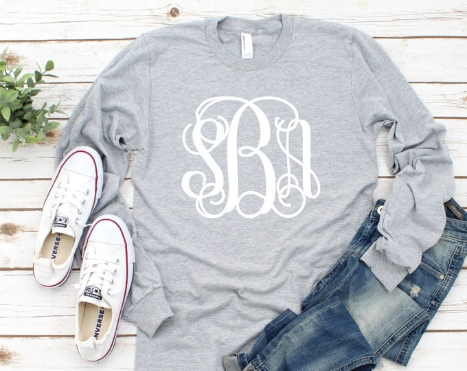 Monogram Shirt - Monogrammed Long Sleeve Tee Shirt for Girls and Women - Mother Daughter Shirts - Custom Tee Shirts