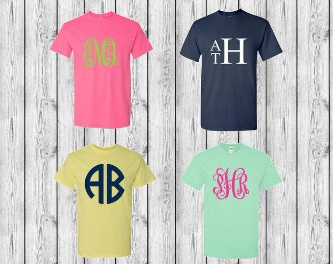 Monogrammed T-Shirt, Short Sleeve Monogram Shirt, Monogrammed Shirts, 10 Dollar Shirt Sale, Bridesmaid Gifts, Group Discounts, Custom Shirts