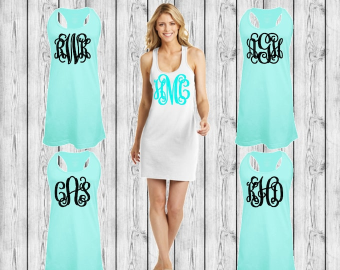 Monogrammed Swimsuit Coverup, Monogram Swim Cover Ups, Monogrammed Tank dress, Bridesmaid Gift, Cruise, Wedding, Bachelorette
