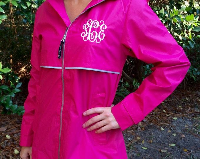 Monogrammed Rain Jacket - Ladies Rain Jacket - Charles River Rain Jacket- New Englander Rain Jacket - Monogrammed Full Zip Rain Jacket