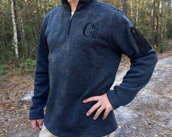 Men's Monogrammed Quarter Zip Sweater - Charles River Apparel - Monogram Quarter Zip Sweater - Heathered Fleece Pullover