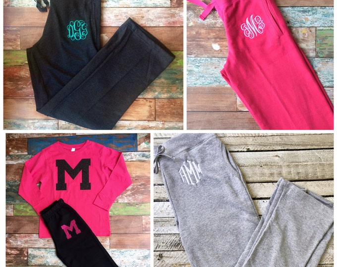 Monogrammed Sweatpants, Bridesmaid gift, Monogram Sweatpants, Cheer Sweatpants