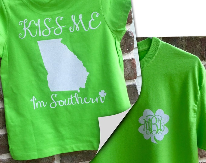 St Patricks Day Shirt, Kiss Me I'm Southern, Ladies St Patty's Day Shirt, Monogrammed Shirt, Monogrammed St. Patrick's Day Shirt