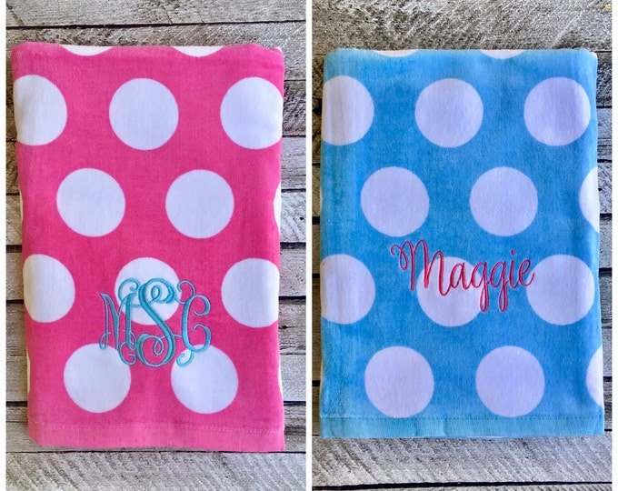 Monogrammed Beach Towel, Personalized Beach towel, Bridesmaid gift, Graduation Gift, Destination Wedding, Bachelorette Party, Wedding Favors