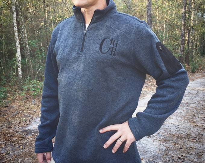 Men's Monogram Quarter-Zip, Monogrammed Jacket, Charles River Pullover, Monogram Quarter Zip, Heathered Pullover, Honeymoon, His and Hers