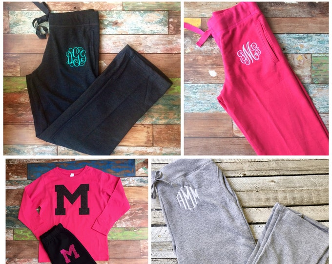 Monogram Sweatpants, Monogrammed Sweatpants, Bridesmaid gifts, Group discounts, Cheer Camp, Cheer camp clothing
