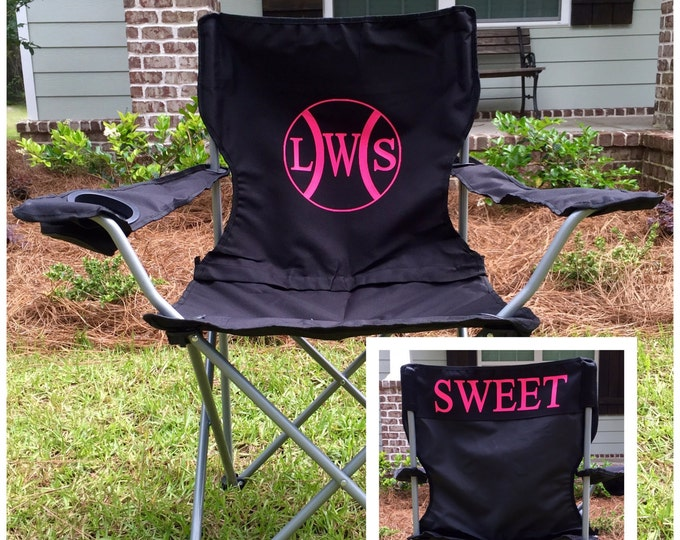 Monogrammed Chair, Personalized Chairs, Custom Coach's chair, Baseball game chair, Monogrammed Chairs, Polyester Denier Folding Chair