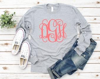 Monogram Shirt, Monogrammed Long Sleeve T shirt, Monogrammed Gifts, Monogram Tee shirts, Monogrammed gifts, Girl's and Women's sizes