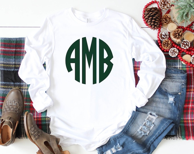 Monogram Shirt, Monogrammed long sleeve shirt, Gift Under 20, Gifts for Her, Girls Monogram Shirt, Ladies Monogram Shirt