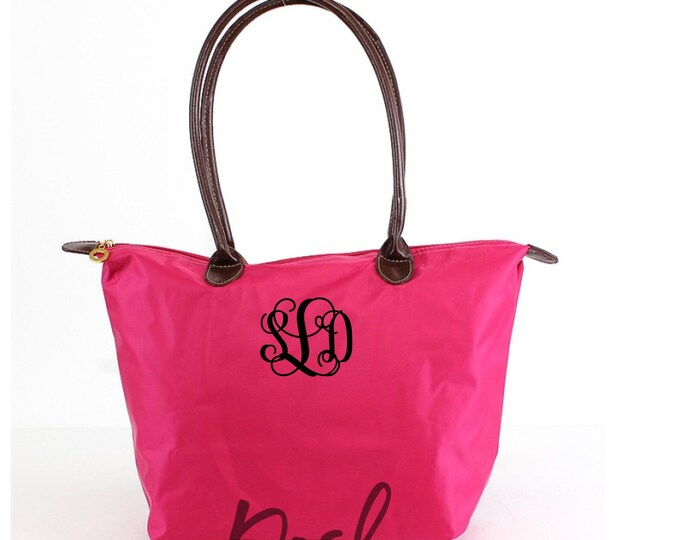 Monogrammed Nylon Tote Bag, Personalized Tote Bag, Bridesmaid Gifts, Personalized Totes
