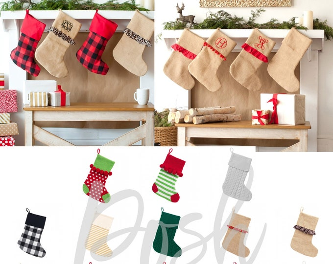 Featured listing image: Christmas Stockings, Personalized Christmas Stockings, Family Christmas Stockings, Monogram Christmas Stockings, Burlap Christmas Stockings